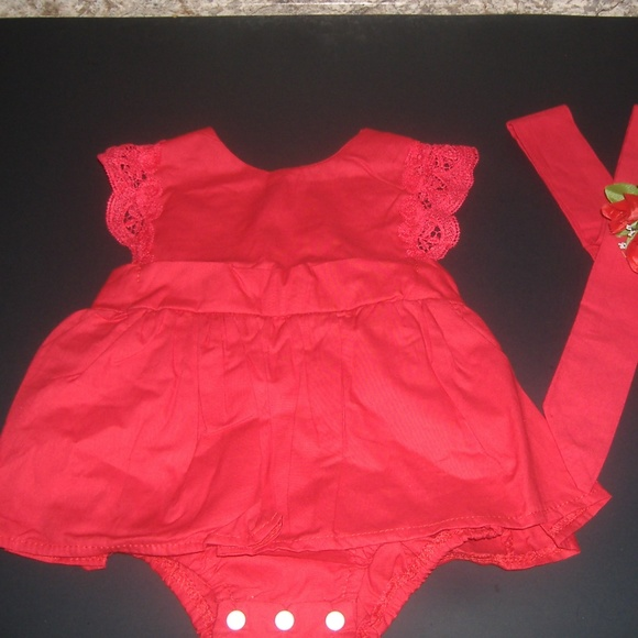 0b1f3553d26be ❤Ruffle Red Lace Romper Dress Baby Girls Sister❤ NWT
